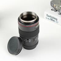 lente copo de vidro venda por atacado-Atacado-Canon cem micro-lente câmera copo caneca de vidro aço inoxidável lente copo criativo mobiliário doméstico