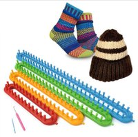 Wholesale Knitting Socks Loom - Long Knitting Looms DIY Scarf Shawl Hat Socks Knitter Plastic Knifty Long Knitting Loom Set 4 Sizes Set OOA2262