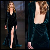 Wholesale Dresses Monica - 2017 Sexy Long Sleeve Bridal Evening Dresses Velvet Mermaid High Slit Monica Bellucci Occasion Wear Celebrity Prom Party Gowns