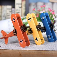 Wholesale Handmade Iron Ornaments - Plane Models Handmade Metal Crafts Vintage Iron Plane Retro Captain First World War Fighter Moldels Collection Decor Home Arts 3D Decoration