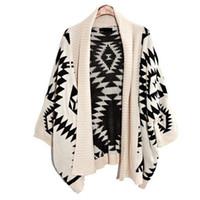 Wholesale Batwing Sweater Knitting Pattern - Wholesale- 2016 Korean Hot geometric pattern cape coat loose big yards sweater knit cardigan Women long sleeves white and black sweater