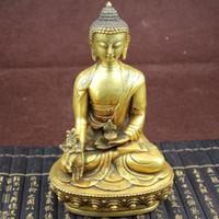 ingrosso buddha d'ottone tibetano-Collezione Tibetan Pharmacist Buddha Brass Statue