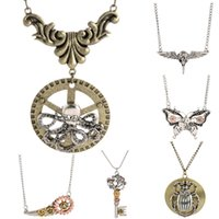 Wholesale Vintage Octopus Pendant - 15 Styles Vintage Steam Punk Style Personality Bronze Metal Octopus Bat Owl Key Butterfly Mechanical Wheel Pendant Necklace