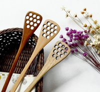 Wholesale kitchen stirrer - Wood Honey Stick Stirrer 18.2*3cm Creative sculpture honeycomb long handle scoop solid wood kitchen utensils