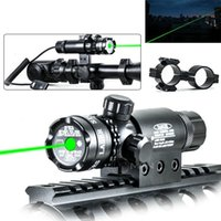 Wholesale Hunting Laser Riflescope - Hunting Camping Aim Rifle Tactical 532nm Green Laser Dot Scope Sight Riflescope Visiable Beam Remote Switch Rail Ring Mount Free Shipping