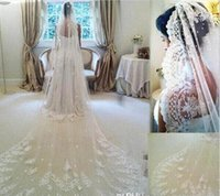 Wholesale lace wedding veils for sale - 2016 One Layer Lace Long Bridal Veils with Lace Appliqued Lace Bridal Veils White Ivory Veils for Wedding Free Shipping Hot Sale CPA066