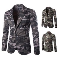 Wholesale Military Style Suit Men - HOT! Military style army green camouflage Blazers men Single Breasted 100% cotton Slim Man's suits free shipping