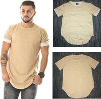 Wholesale Plain Cotton Tees Man - Wholesale free shipping 100% cotton Curved Hem Hip Hop T-shirt Men Urban Kpop Extended T shirt Plain Longline Mens Tee Shirts Male Clothes