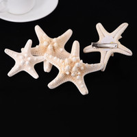 Wholesale Girls Hair Accessories Hairclips - Handmade DIY Hairpins Fashion Women Girls Natural Starfish Sea Star Hairclips Headwear Beach Hair Jewelry Accessories