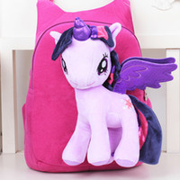 Wholesale horse school bags - Wholesale- Anime Backpack Cartoon Lovely Little Horse Kindergarten School Bags 3D Poni Unicorn Doll Plush Backpack Toys for Children Gift