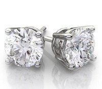 Wholesale created diamond earrings - 4CT 14k White Gold Round Lab Created Diamond Earrings Basket Solitaire Studs