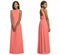 Wholesale Halter Junior Bridesmaid - 2017 Coral Junior Bridesmaid Dresses Halter Sleeveless A Line Floor Length Long Open Back Cheap Beach Bridesmaid Dress