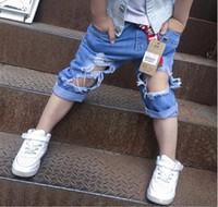 Wholesale Korean Boy Jeans - Korean Kids Boys Denim Pants Baby Boys Fashion Hallow Out Jeans 2017 Boys Summer Casual Pants Childrens Clothing