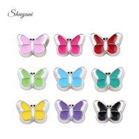 Wholesale 9mm Bulk - Enamel Charm Silver Plated Colorful Bulk Butterfly Floating Locket Charm for DIY Glass Memory Locket 7*9mm