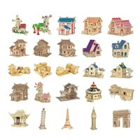 Wholesale 3d Puzzles Chinese House - Chanycore Baby Learning Educational Wooden Toys 3D Puzzle Building House Villa Windmill Waterwheel Tower Chinese Kids Gifts 4308