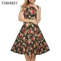 Wholesale Print Audrey - 2017 Vintage Audrey Hepburn Dress For Women Bohemian Casual Bodycon Elegant Floral Ladies Women O Neck Print Dress Vestido CM067