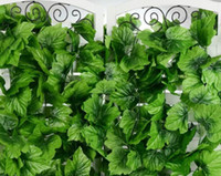 Wholesale climbing wall decor for sale - Popular cm Artificial Grape Leaf Green Leaves rattans for Fence Home Decor Bar Restaurant Wedding fence Decoration climbing vines MYY