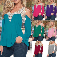Wholesale Tee Shirt Crochet - Ladies V-Neckline Open Shoulder Crochet Panelled Tops Womens Lace Embroidered Patchwork V-Neck Blouse Long Sleeve T-Shirt Shirt Tee Jumper