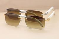 Wholesale Sunglasses Genuine Men - White Buffalo Horn Sunglasses Glasses Mens Sun Glasses Rimless Sunglasses Genuine Nature Buffalo Horn Frame Top Quality Rectangle Glasses