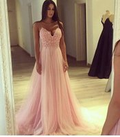 Wholesale Cheap Empire Line Tops - Straps Spaghetti Pink Tulle Long Evening Dresses 2018 V Neck A Line Lace Top Long Prom Gowns Cheap Custom Made Vestidos De Fiesta
