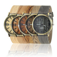 Wholesale Wood Wrist Watch Mens - 2017 Simulated Wood Grain Watch mens womens Luxury four Numbers watches High-grade Quartz Imitation wood wooden wrist Watches students sale