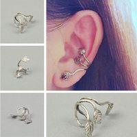 Wholesale Pierced Earring Tree - Single No Piercing Argent alloy Withered deadwood tress tree twig branch earrings Maple Leaf ear cuff Leaves Clip earrings girl CC540