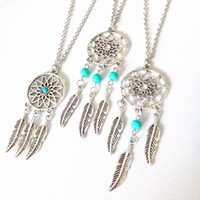 Wholesale Sterling Feather Necklaces - Hot dream catcher statement necklaces sterling silver jewelry wings feather long pendant necklaces for women free shipping D161