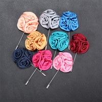 Wholesale Fashion Flower Pins - 15 Color Classic Men Flower Brooch Pins Fashion Imitated Silk Fabric Boutonniere Stick Lapel Pin For Suit Party Wedding Jewelry A150