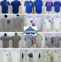 Men blank name patches - 2016 World Series Champions Patch gray blue white NO NUMBER NO NAME Blank Jersey Mens Chicago Cubs New Cool Base Jersey stitched logos