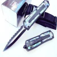 Wholesale Abalone Pocket Knives - Microtech scarab Abalone shell Hunting Folding Pocket Knife Survival Knife Xmas gift for men copies 1 pcs freeshipping