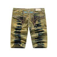 Wholesale Tide Male Jeans Fashion - Famous Brand Robin Short Jeans Men Tide Summer Designer Robin Jeans For Male True Biker Fashion Short Robin Rock Revival Jeans