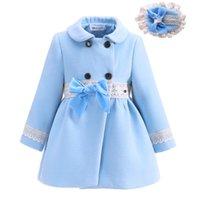 automne veste achat en gros de-Pettigirl Boutique Autumn Bow Fille Manteaux Avec Des Chapeaux Manteaux Enfants De La Mode Survêtement Filles Veste G-DMOC908-1016