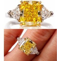 Wholesale Trillion Diamond Rings - 2.60 CT Radiant & Trillion 3 Stone Fancy Yellow Diamond Engagement Ring