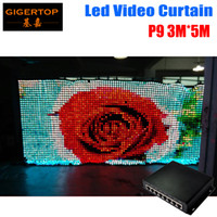 Wholesale Led Curtains Uk - P9 3M*5M LED Vison Curtain with PC SD Mode,Tricolor 3In1 LED Video Curtain for DJ Wedding Backdrops 90V-240V