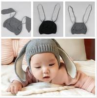 bebek yün başlık örme toptan satış-4 Renkler Noel Bebek tavşan kulak Yün şapkalar Çocuklar Erkek Kız Moda Saf Renk Örme Kapaklar Kış Şapka Toptan Sıcak kasketleri