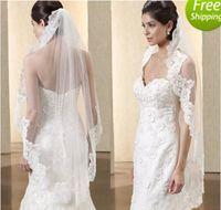 Wholesale Embellished Veil - Hot Sell Bridal Veils 2015 from Eiffelbride with Embellished Lace Applique Short White   Ivory Color Tulle Wedding Veils