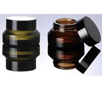 Wholesale Brown Glass Jars - 15g 30g 50g Brown Glass Jar Pot- Inclined Shoulder Glass Container for Wax, Oil, Cream, Cosmetic - Travel Refillable Sample Packaging Bottle