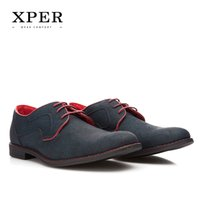 Wholesale Chunky Heel Party - Size 40~46 Brand XPER Casual Men Dress Shoes Lace-Up Wear Comfortable Men Wedding Shoes #YM86518BL BU