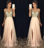 Wholesale Cheap Sexy Bling Dresses - Bling Bling Crystals Chiffon Prom Dresses 2017 Long Sheer Deep V Neck Thigh-High Slits Light Champagne Chiffon Cheap Evening Dress Gowns