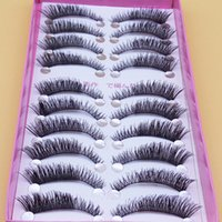 Wholesale Semi Slim - Exaggerated Thick False Eye Lashes 1 Box 10 Pairs Fake Eyelashes Naturally Short Paragraph Cross Eye Slim Makeup False Eyelashes