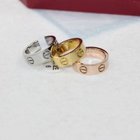 Wholesale Love Ring Band Silver - 316L Titanium steel love screw rings for women men silver rose gold ring fashion jewelry for lovers Band Rings in 6mm width