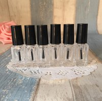 Wholesale Empty Nail Polish Bottle 5ml - Best Selling 5ml Transparent Glass Nail Polish Bottles Empty Small Square bottles With cap brush Cosmetics Packaging Nail Bottles