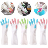 Wholesale Long Waterproof Gloves - New Fashion Waterproof Dishwashing Gloves Magic PVC Long Anti Cold Gloves Cleaning Housework Kitchen Cleanning Gloves B0990