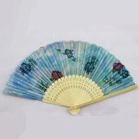 ingrosso forniture di nozze bambù-Ventilatori pieghevoli Moda Fiori di stampa Design di mano Bamboo Fan pieghevoli Eventi di festa Forniture di regali di nozze Favori Arts Crafts