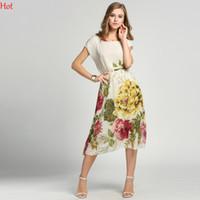 Wholesale Midi Sundresses - Bohemian Women Chiffon Dress Floral Print Bat Short Sleeve Casual Beach Boho Dresses Ladies Sundress Plus Size Midi Summer Dress SV000258