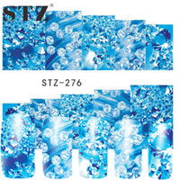 Vente en gros - STZ 1 Feuilles Dernières Pierres De Strass Transparent Blue Designs Watermark Stickers Autocollants Nail Art Décorations pour Nail Beauty STZ276