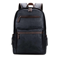 Wholesale trendy travel backpacks - Fashion Bag Leather Mens Laptop Backpack Casual Daypacks For College High Capacity Trendy School Backpack Men Travel Bag