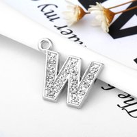 Wholesale Cheap Charms For Living Lockets - Cheap DIY Charm Letter W Crystal Letter Heart Floating Charm for Glass Living Memory Locket Jewelry Findings&Components