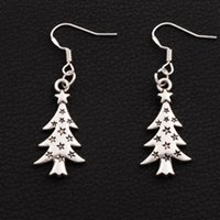 Wholesale Silver Plate 925 - Star Light Christmas Tree Earrings 925 Silver Fish Ear Hook 40pairs lot Antique Silver Dangle Chandelier Jewelry E748 14.4x44mm