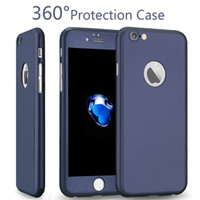 Wholesale Packages Case - For Iphone 7 Screen Protection 360 Degree Protect Case Tempered Glass Colorful Fashion Case For Iphone 7 Plus iPhone 6 plus Retail Package